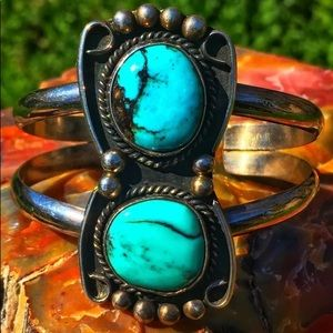 Jewelry - Navajo vintage Sterling double Turquoise bracelet